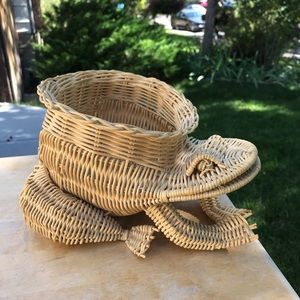 RARE Vintage wicker frog planter bohemian basket